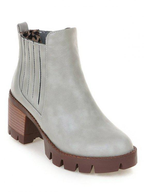 women Stitching Elastic Band Platform Ankle Boots - GRAY 38