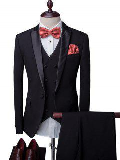 One-Button Breast Pocket Lapel Long Sleeve Three-Piece Suit ( Blazer + Waistcoat + Pants ) For Men - Black M