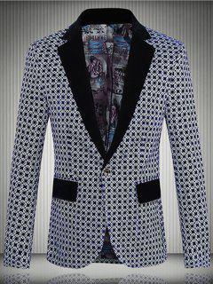 Geometric Pattern One-Button Lapel Long Sleeve Blazer For Men - Deep Blue 3xl