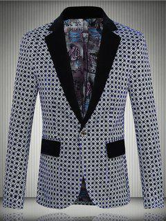 Geometric Pattern One-Button Lapel Long Sleeve Blazer For Men - Deep Blue L