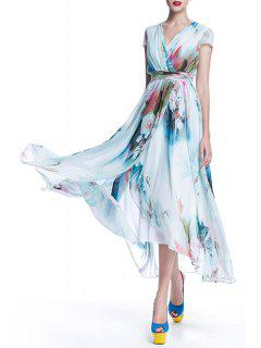 Surplice Long Printed Flowy Dress - Light Blue S