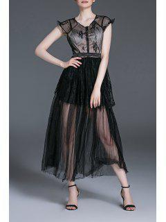 Lace Spliced Slimming Faux Twinset Midi Dress - Black S