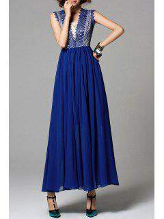 Lace Insert Chiffon Maxi A Line Evening Dress - Blue S