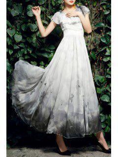 Long Flouncing Butterfly Print Ombre Dress - Light Gray M