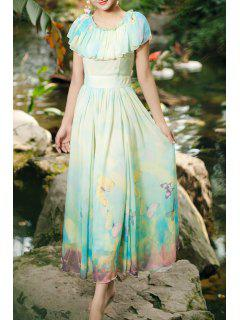 Long Flouncing Butterfly Print Ombre Dress - Light Yellow S