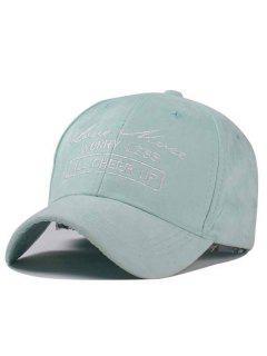 Letter Faux Suede Baseball Hat - Mint Green