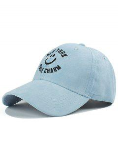Smilling Face Faux Suede Baseball Hat - Light Blue
