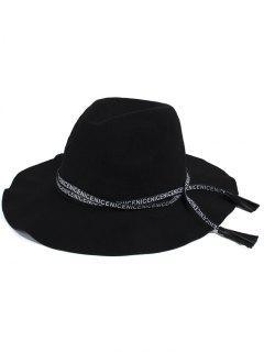 Letters Lace-Up Black Jazz Hat - Black