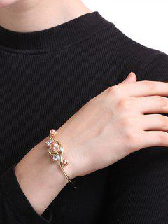 Rhinestone Faux Pearl Cuff Bracelet - Golden