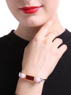 Rectangle Faux Pearl Bracelet - Golden