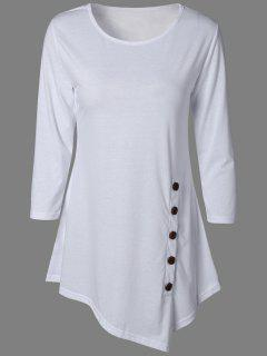 Buttoned Three Quarter Sleeve Blouse - White Xl