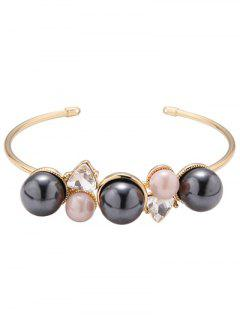 Faux Pearl Triangle Cuff Bracelet - Golden