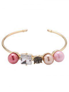 Rhinestone Faux Pearl Bracelet - Golden
