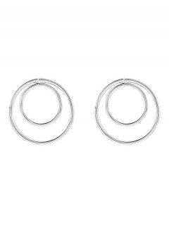 Minimalist Design Circles Earrings - Silver