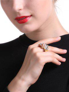 Faux Crystal Pearl Square Ring - Golden One-size