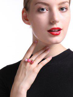 Fake Pearl Square Ring - Golden One-size