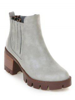 Stitching Elastic Band Platform Ankle Boots - Gray 38
