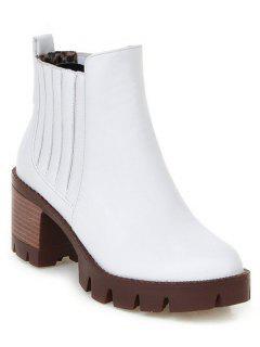 Stitching Elastic Band Platform Ankle Boots - White 38