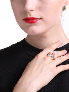 Faux Pearl Beads Ring - Golden One-size
