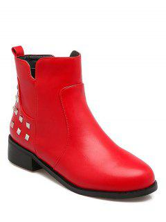 Metal Rivets Zipper Round Toe Ankle Boots - Red 37