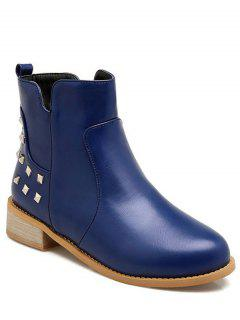 Metal Rivets Zipper Round Toe Ankle Boots - Blue 38