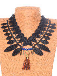 Leaf Tassel Necklace - Black