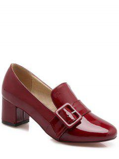 Patent Leather Buckle Solid Color Pumps - Wine Red 38