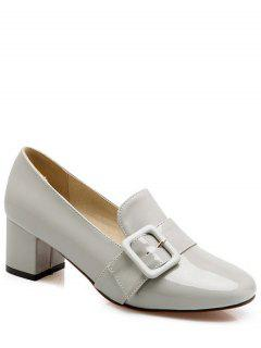 Patent Leather Buckle Solid Color Pumps - Light Gray 38