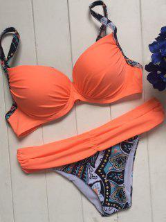 Printed Spaghetti Straps Underwire Bikini Set - Orange L
