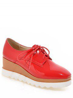 Square Toe Tie Up Wedge Shoes - Red 38
