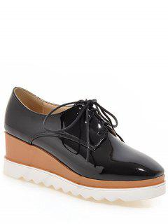 Square Toe Tie Up Wedge Shoes - Black 38