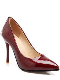 Metal Rhinestones Stiletto Heel Pumps - Wine Red 39