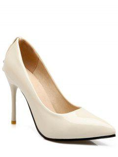 Metal Rhinestones Stiletto Heel Pumps - Off-white 38