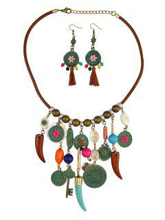 Gypsy Style Necklace And Earrings - Brown