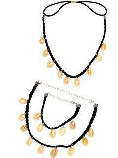 Shells Necklace Bracelet And Headband - Black