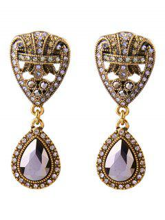 Faux Crystal Teardrop Drop Earrings - Deep Purple