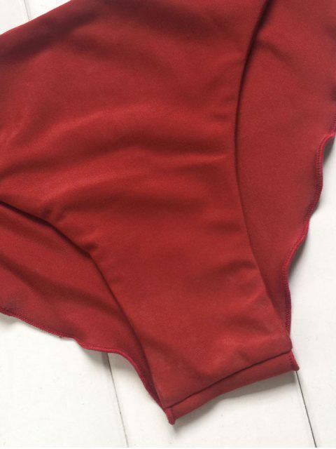 online Solid Color Back Strappy Bikini Set - BURGUNDY S Mobile