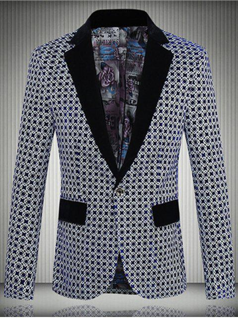 buy Geometric Pattern One-Button Lapel Long Sleeve Blazer For Men -   Mobile