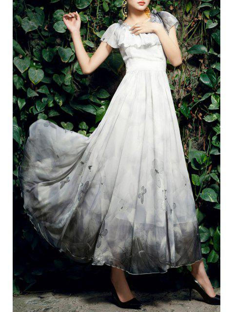 Long Flouncing Butterfly Print Ombre Dress - Gris Clair L Mobile
