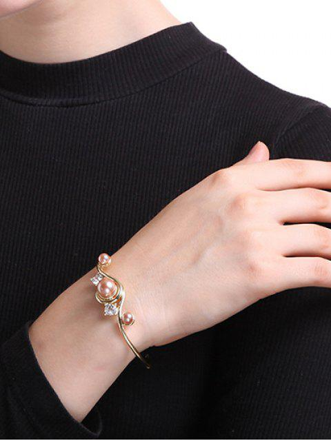 outfit Rhinestone Faux Pearl Cuff Bracelet - GOLDEN  Mobile