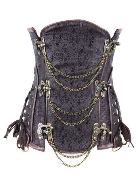 fashion Vintage Jacquard Metallic Corset - BROWN XL Mobile