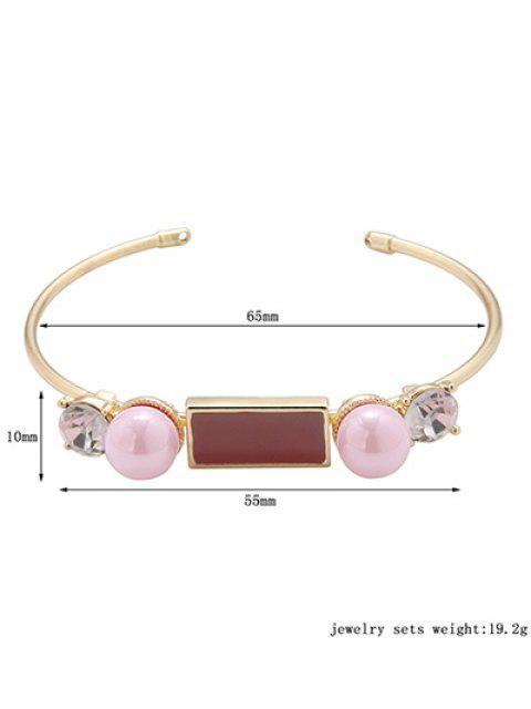 chic Rectangle Faux Pearl Bracelet - GOLDEN  Mobile
