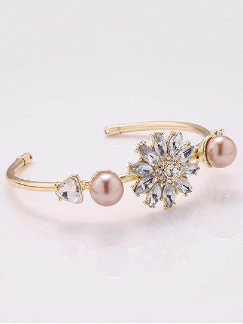 fancy Faux Crystal Triangle Flower Bracelet -   Mobile