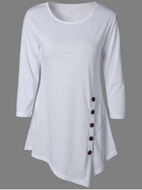 best Buttoned Three Quarter Sleeve Blouse - WHITE XL Mobile