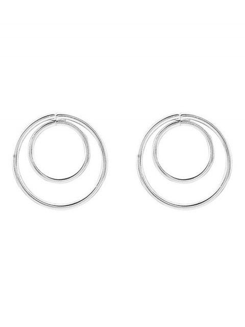 ladies Minimalist Design Circles Earrings - SILVER  Mobile