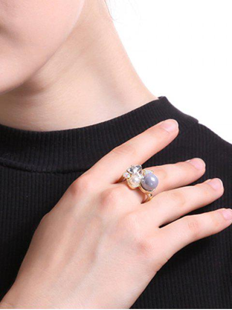 fashion Faux Pearl Triangle Ring - GOLDEN ONE-SIZE Mobile
