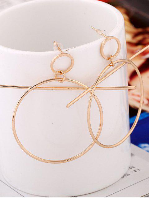 Boucles d'oreilles pendentif cercle avec barre - Or  Mobile