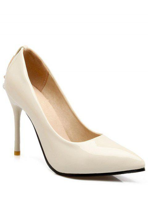 lady Metal Rhinestones Stiletto Heel Pumps - WHITE 39 Mobile