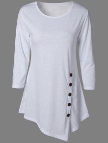 Buttoned Three Quarter Sleeve Blouse - White S
