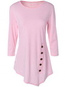 Buttoned Three Quarter Sleeve Blouse - Pink M